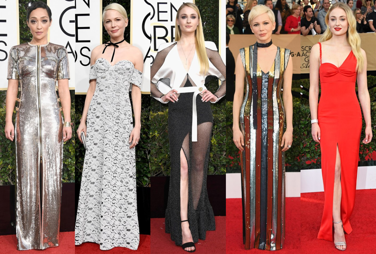 Ruth Negga, Michelle Williams at the Golden Globes, Sophie Turner at the Golden Globes, Michelle Williams at the SAG Awards and Sophie Turner at the SAG Awards. Photos: Getty Images