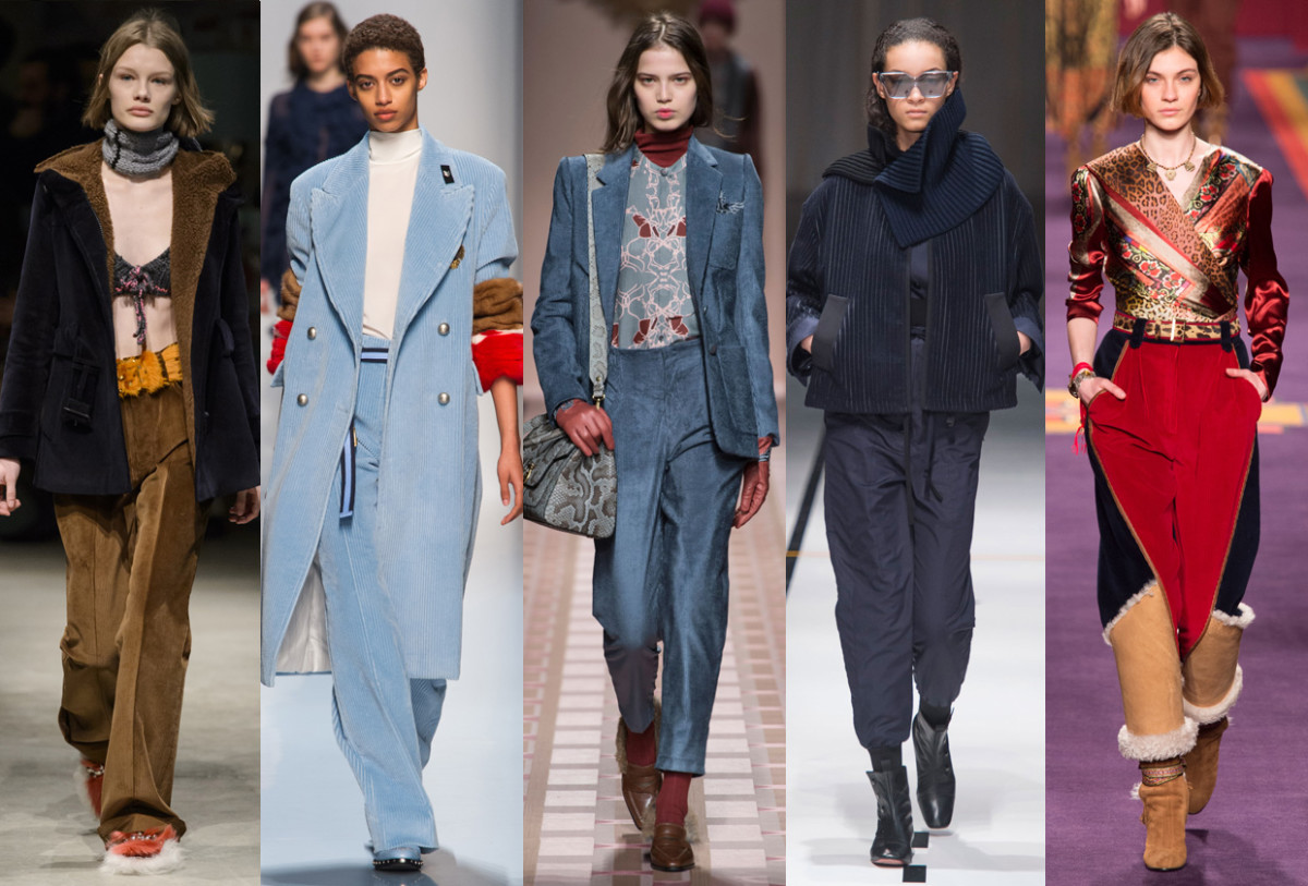 (L-R): Prada, Ermanno Scervino, Trussardi, Sportmax and Etro. Photos: Imaxtree