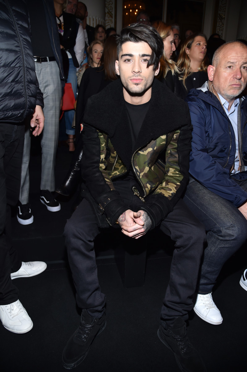 Zayn Malik in Balmain at the brand's Fall 2017 runway show on Thursday in Paris. Photo: Pascal Le Segretain/Getty Images