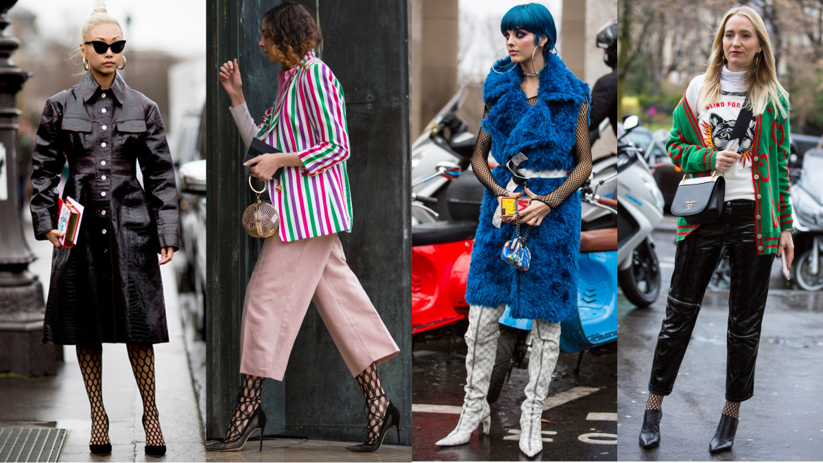 Fishnets FTW. Photos from left to right: Imaxtree,Chiara Marina Grioni/Fashionista (3)