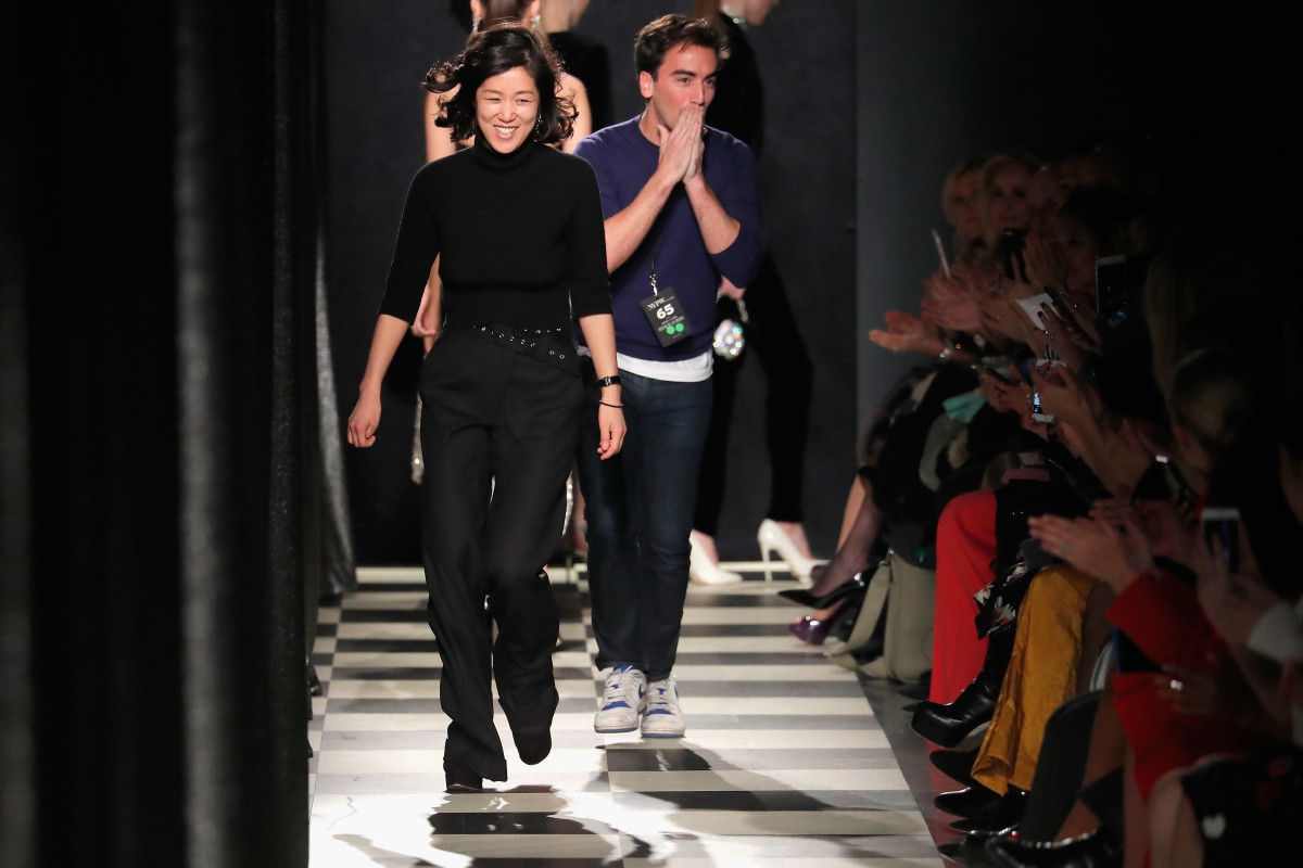 Laura Kim and Fernando Garcia at their joint Monse and Oscar de la Renta Fall 2017 runway show at New York Fashion Week. Photo: JP Yim/Getty Images