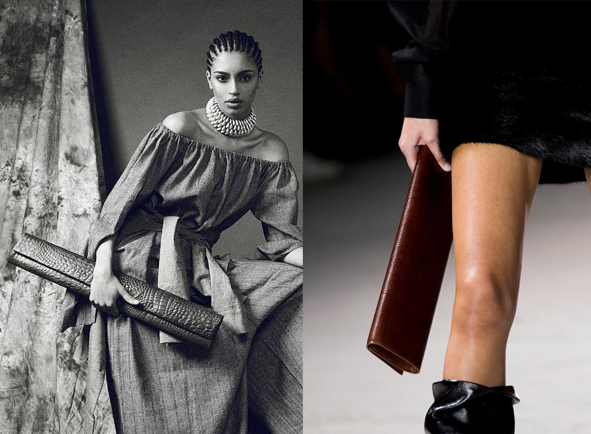 Left: Tongoro's Mburu bag. Photo: @tongorostudio/Instagram; Right: A similar style, seen on the Saint Laurent Fall 2017 runway. Photo: Imaxtree