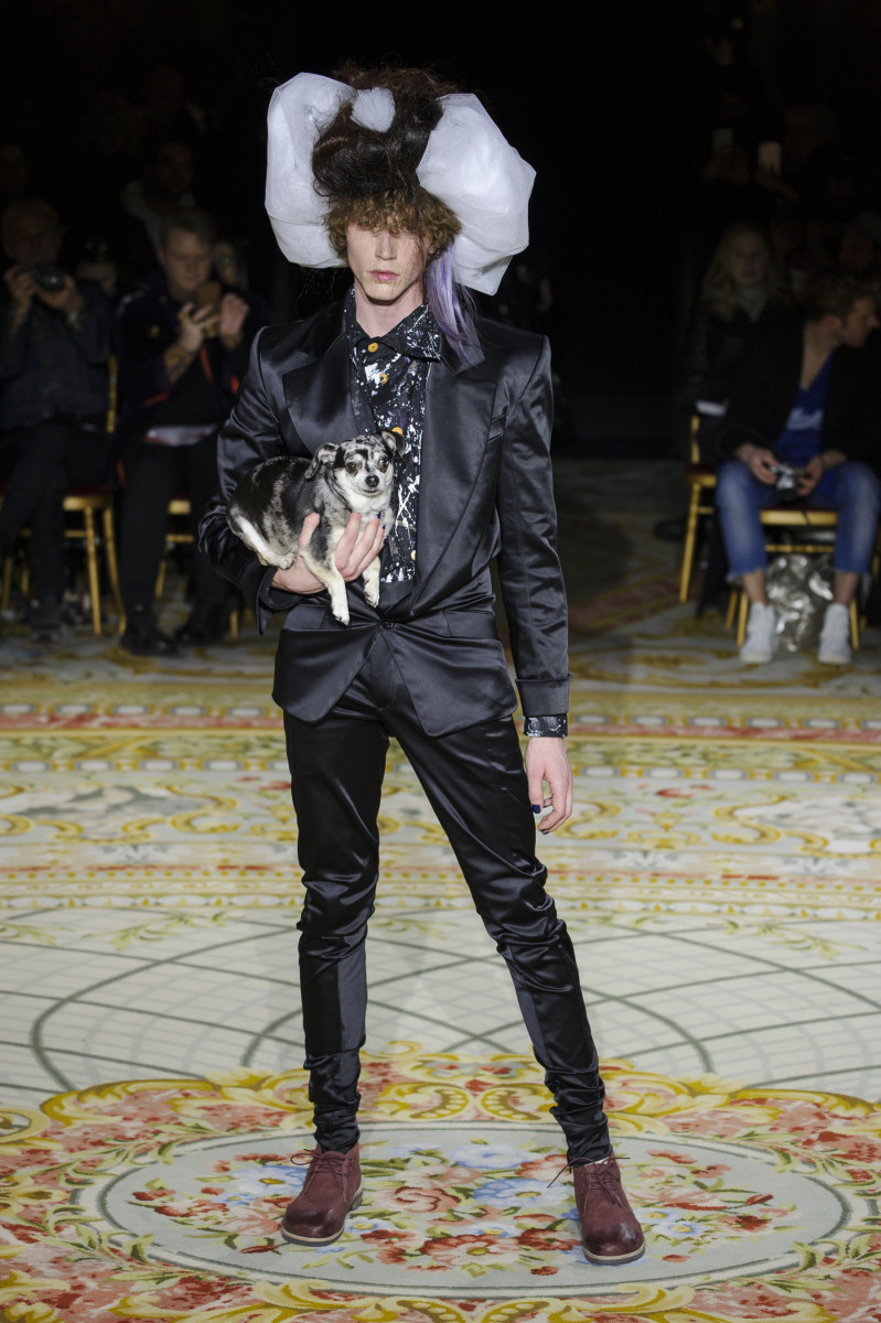 A look (and a pup) from the Andreas Kronthaler for Vivienne Westwood Fall 2017 collection. Photo: Imaxtree