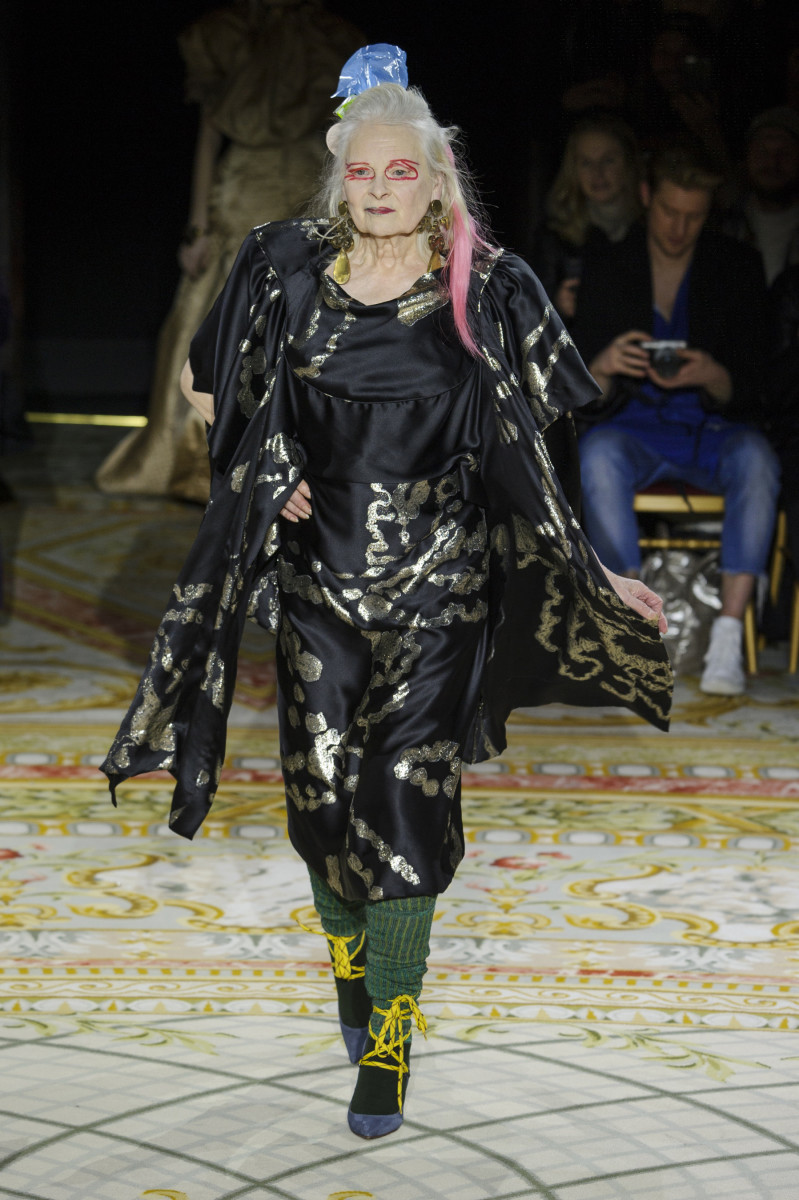 Vivienne Westwood in the Andreas Kronthaler for Vivienne Westwood Fall 2017 show. Photo: Imaxtree