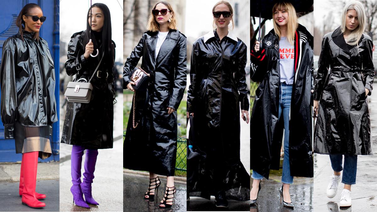 Black, glossy raincoats. Photos from left to right: Chiara Marina Grioni/Fashionista, Imaxtree (5)