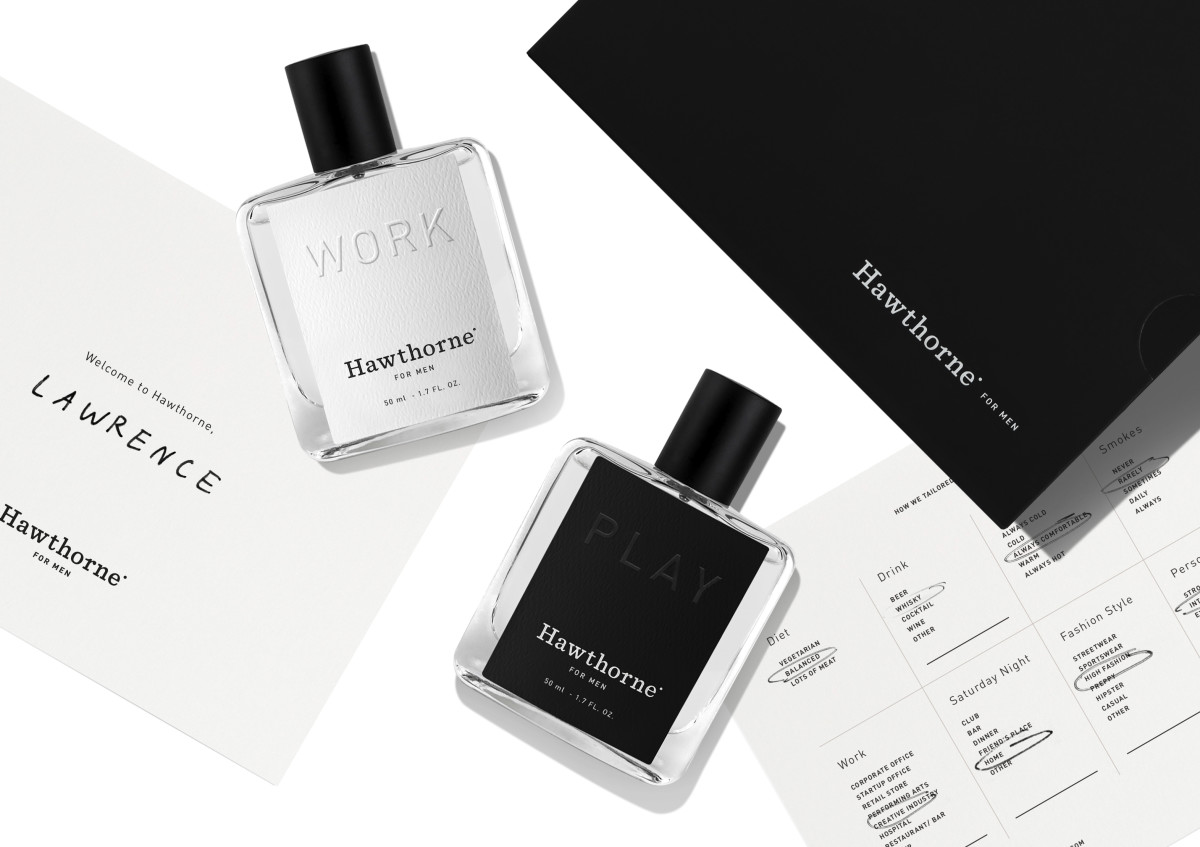 Each set comes in a sleek black box with a personalized note, completed questionnaire and two scents: Work and Play. Photo: Hawthorne