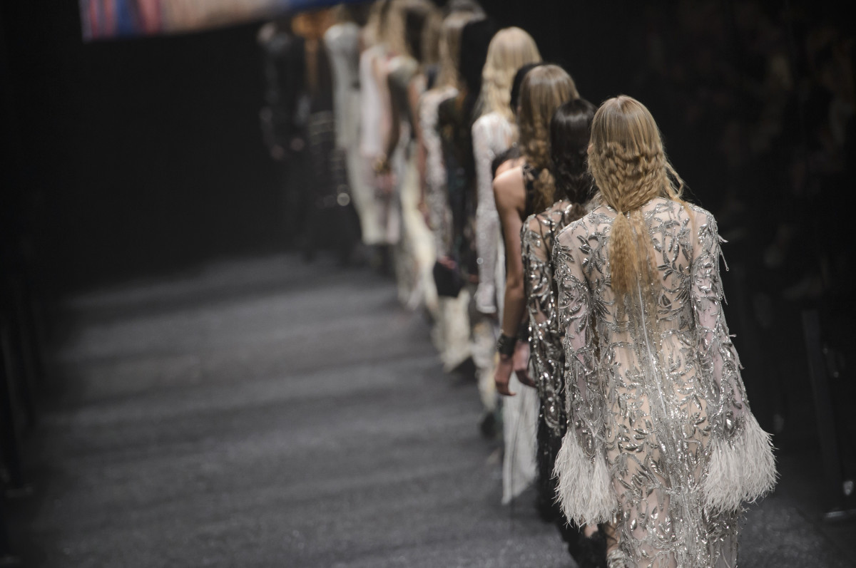 The finale walk at Alexander McQueen's Fall 2017 runway show. Photo: Imaxtree