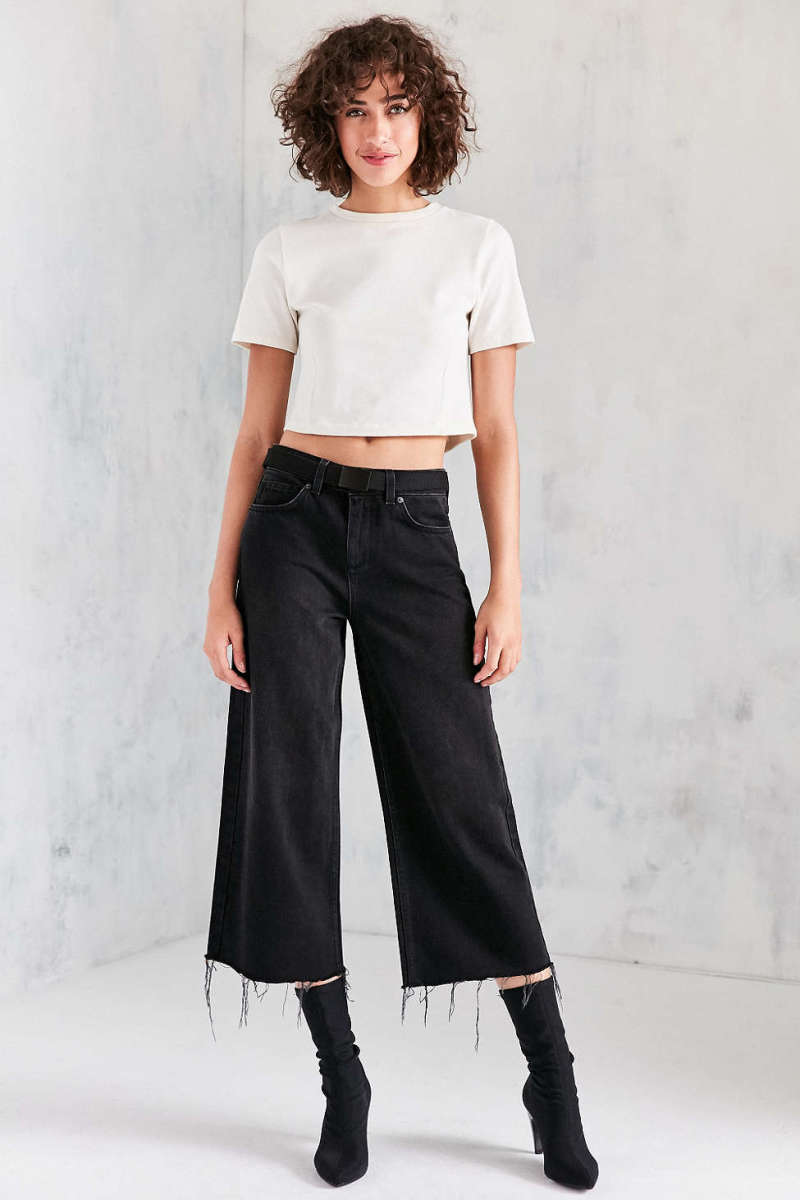 BDG Cropped Denim Culotte in Washed Black, $69, available at Urban Outfitters.
