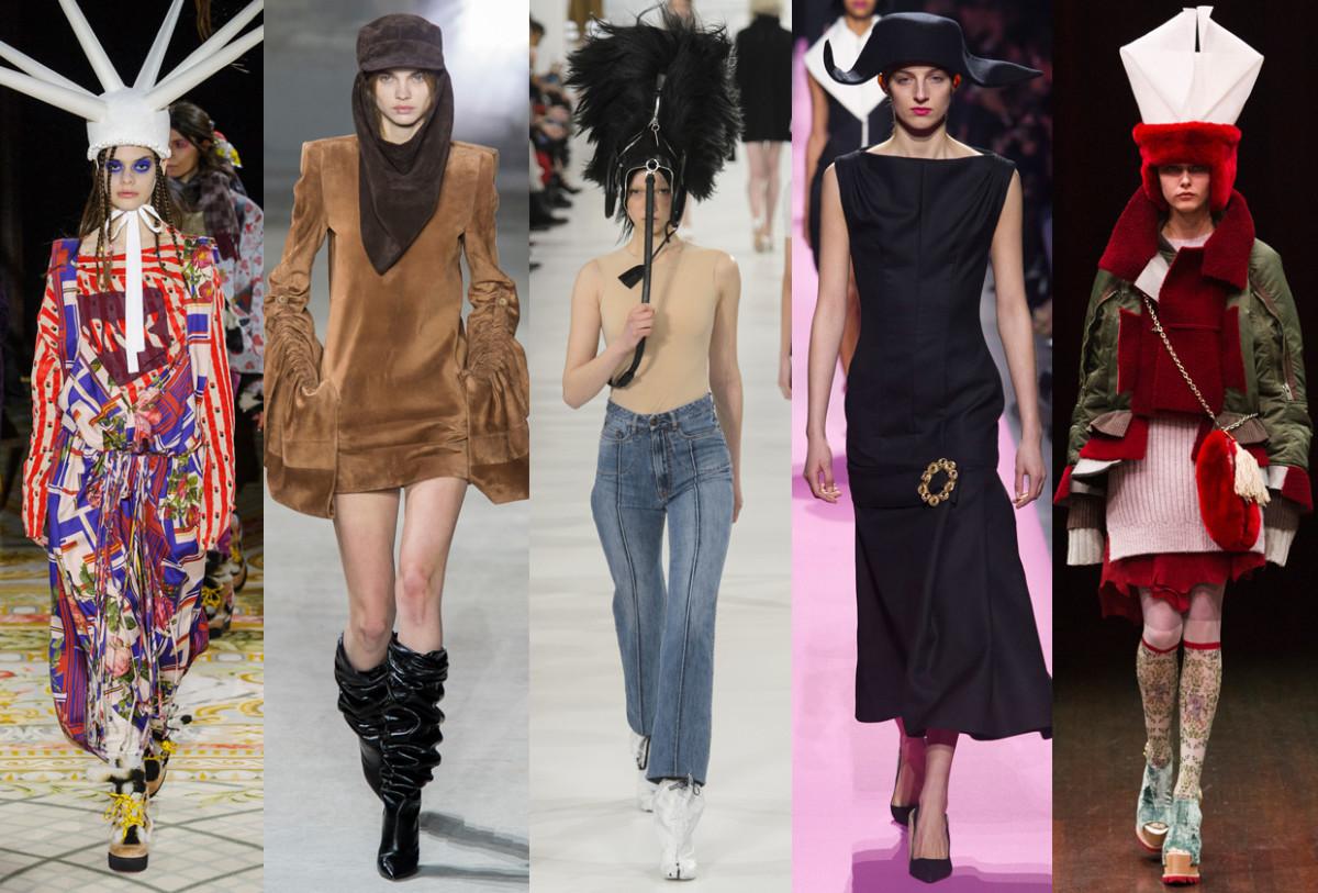 (L-R): Vivienne Westwood, Saint Laurent, Maison Margiela, Jacquemus and Undercover Photos: Imaxtree