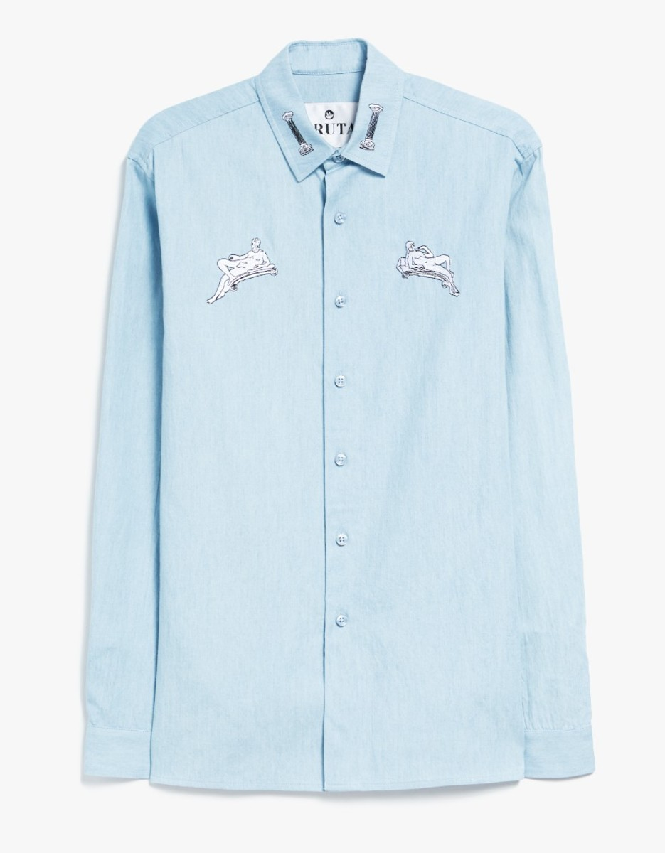 This Renaissance-Embroidered Chambray Blouse Will Break Maura Out of