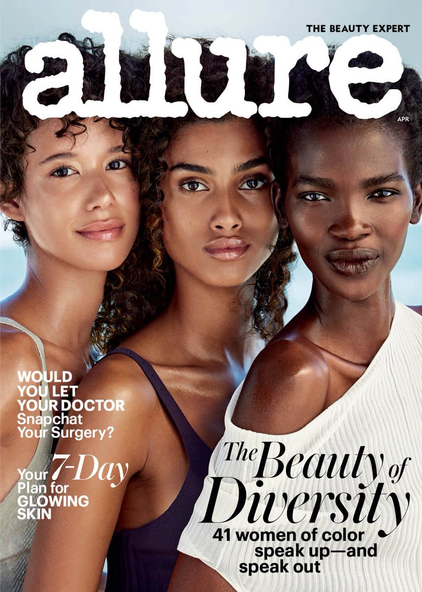 "Dilone, Imaan Hammam and Aamito Lagum on ""Allure""'s April 2017 issue. Photo: ""Allure"""