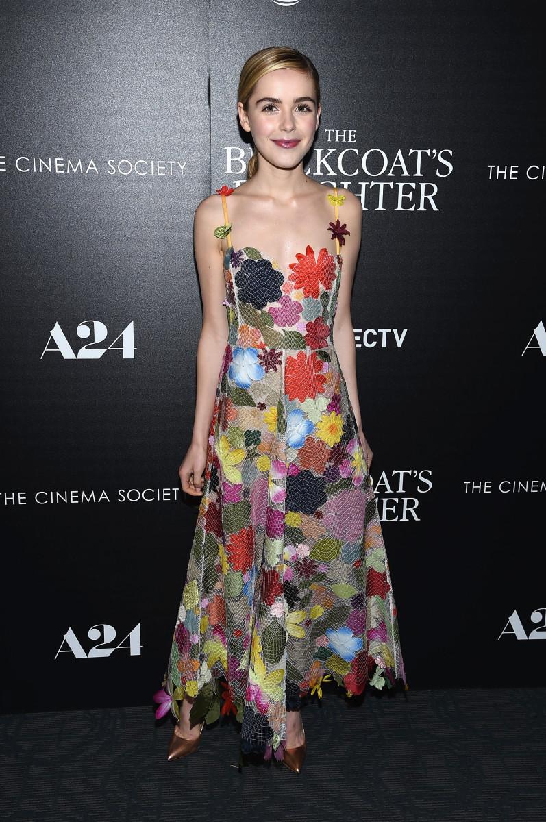 "Kiernan Shipka in Rosie Assoulin at a screening of ""The Blackcoat's Daughter"" in New York City. Photo: Dimitrios Kambouris/Getty Images"