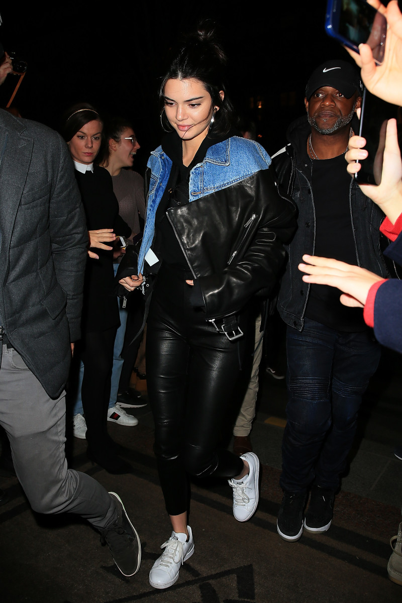 Kendall Jenner in an Unravel jacket in Paris. Photo: Pierre Suu/GC Images