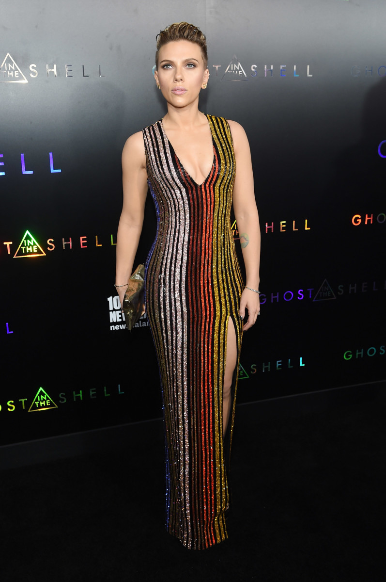 """Scarlett Johansson at the """"Ghost In the Shell"""" premiere in New York City. Photo:Jamie McCarthy/Getty Images"""