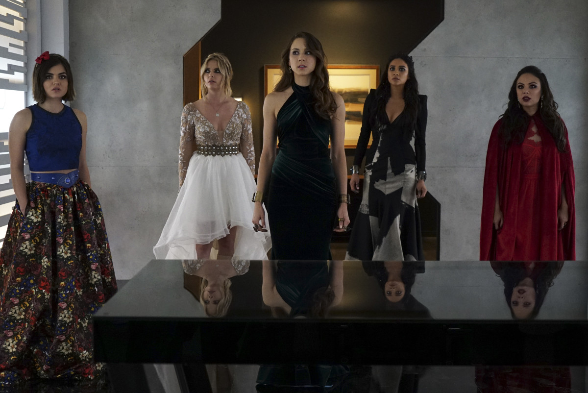 """The one where Lucy was Snow White, Ashley was Rapunzel, Spencer was Ariel, Emily was Evil Queen,"" says Line about the much-anticipated prom fashion moment. ""It was never stated, but that's what I made them."" Photo: Freeform/Eric McCandless"