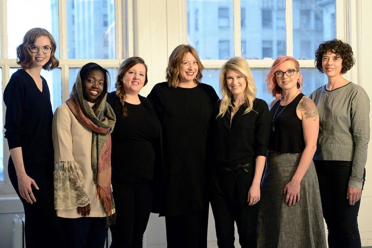 Six of the Chicago Fashion Incubator's 2017 Designers in Residence; Executive Director Tonya Gross, center. Photo: @chicagofashioninc/Instagram