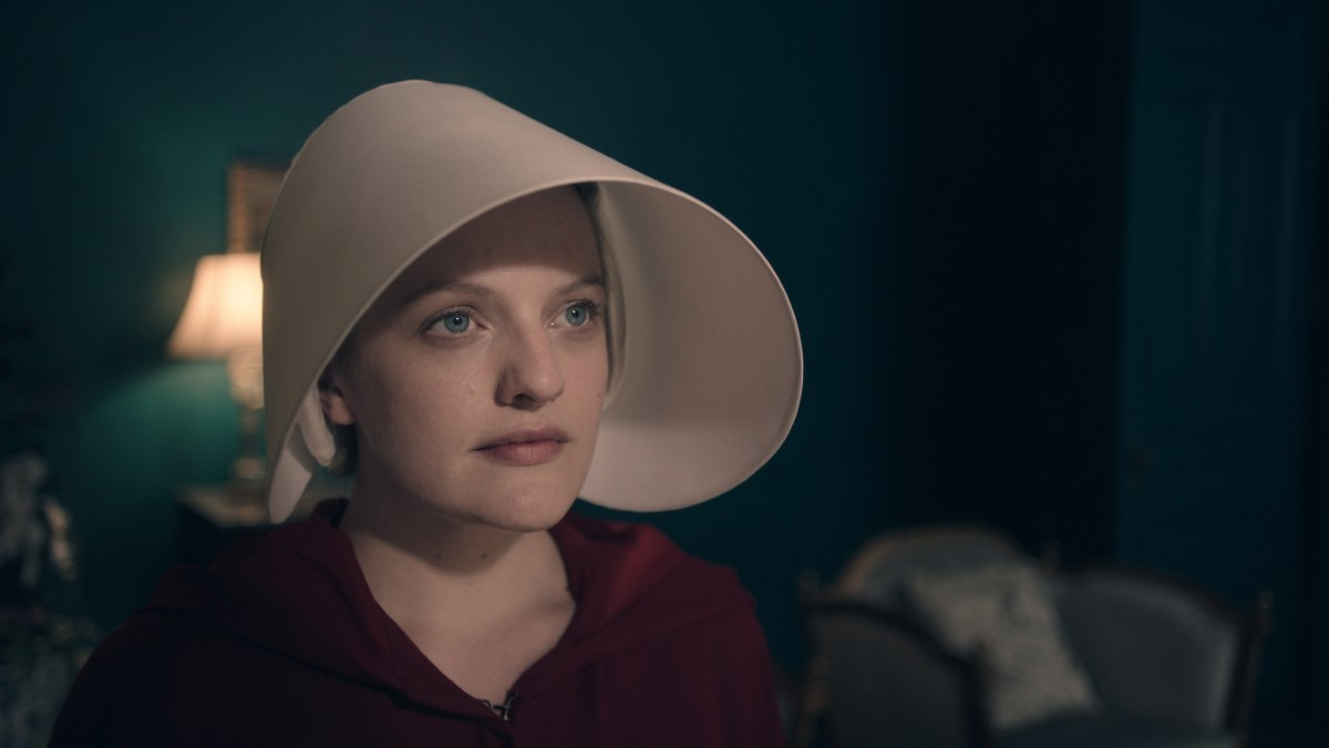 Handmaid Offred (Elisabeth Moss) in her wings and cape. Photo: Take Five/Hulu