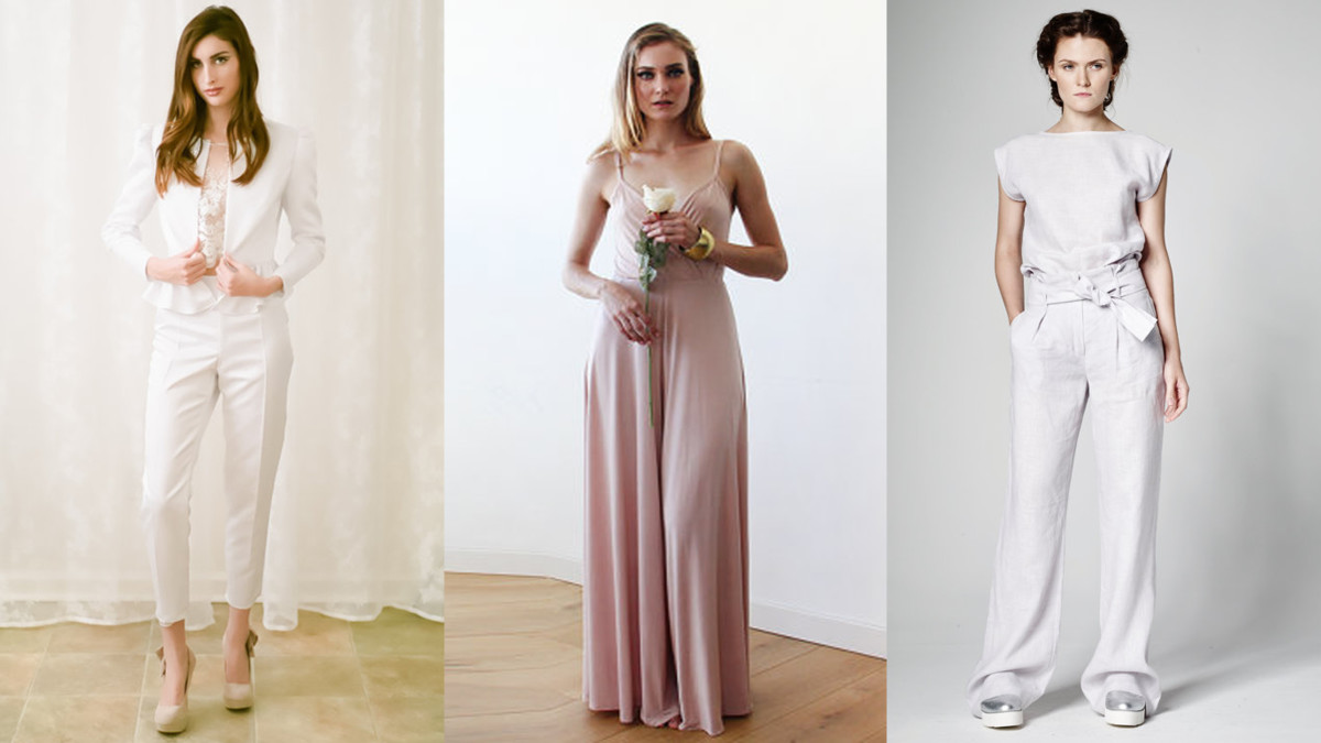 From left to right: Chloé Pantsuit, $1,600, available at Loveybyisha; Blush Jumpsuit, $139, available at BLUSHFASHION; Linen Pants, $54.03, available at PixieWontPlay