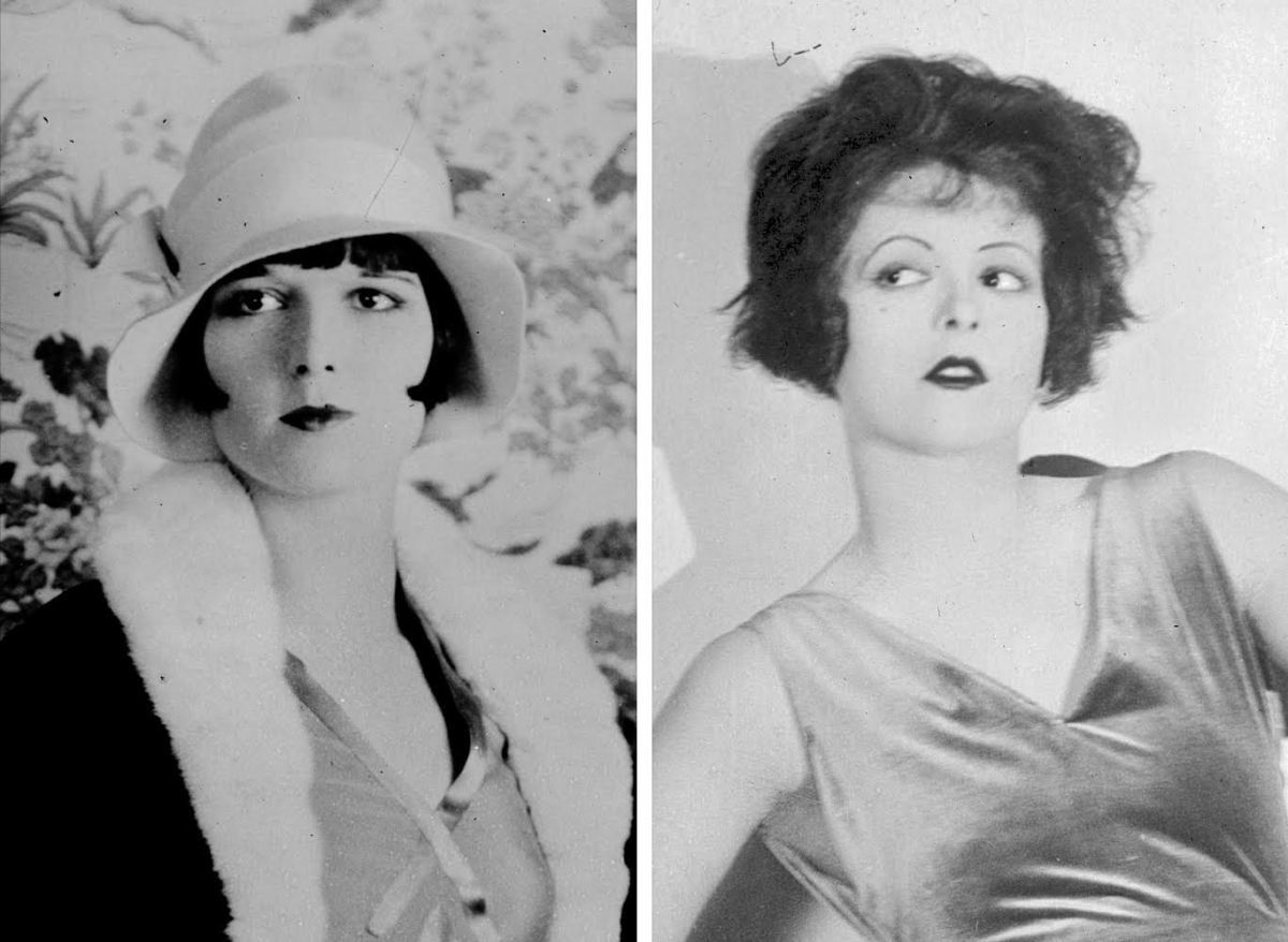 [Left]: Louise Brooks, 1927, Photo: Wikimedia Commons; [Right]: Clara Bow, date unknown, Photo: Wikimedia Commons
