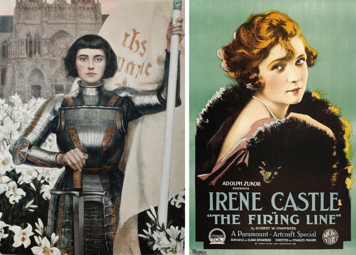 "[Left]: ""Jeanne D'Arc"" by Albert Lynch, 1903, Image: Wikimedia Commons; [Right]: Poster featuring Irene Castle, 1919, Image: Wikimedia Commons"