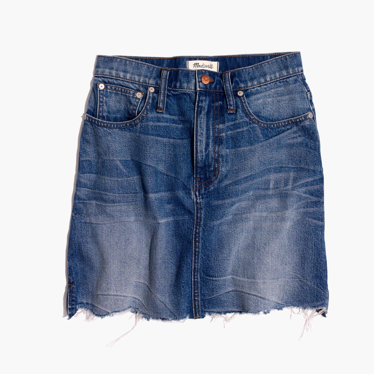 Madewell McCarren raw-hem jean skirt, $79.50, available at Madewell.