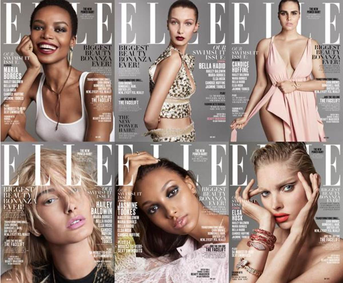 'Elle''s May 2017 covers, featuring Maria Borges, Bella Hadid, Candice Huffine, Hailey Baldwin, Jasine Tookes and Elsa Hosk. Photos: Terry Tsiolis/Elle