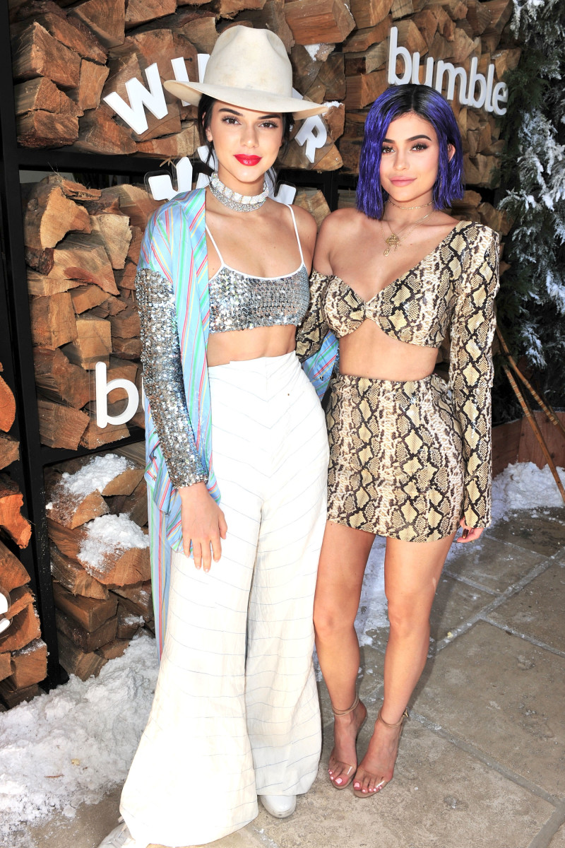 Kendall and Kylie Jenner at a sponsored event for Bumble. Photo: Jerod Harris/Getty Images for FVA Productions