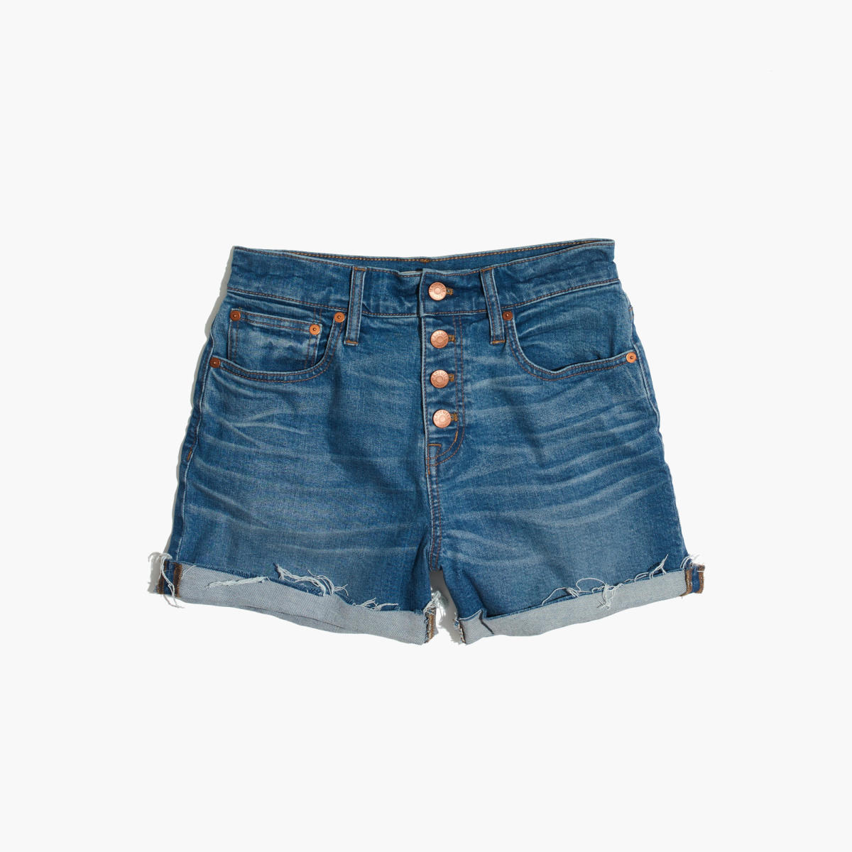 Madewell high-rise denim boyshorts: button-through edition, $74.50, available at Madewell.