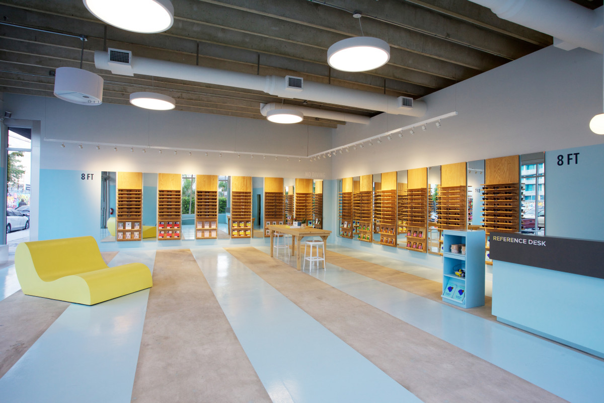 Warby Parker's pool-inspired Miami store. Photo: Warby Parker