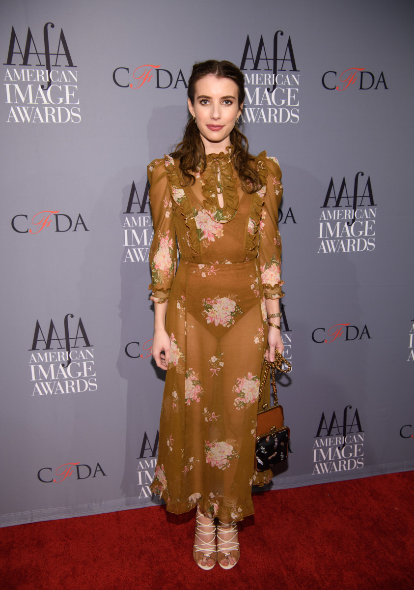 Emma Roberts in Coach at the American Apparel & Footwear Association's 2017 American Image Awards on Monday in New York City. Photo: Dave Kotinsky/Getty Images for AAFA
