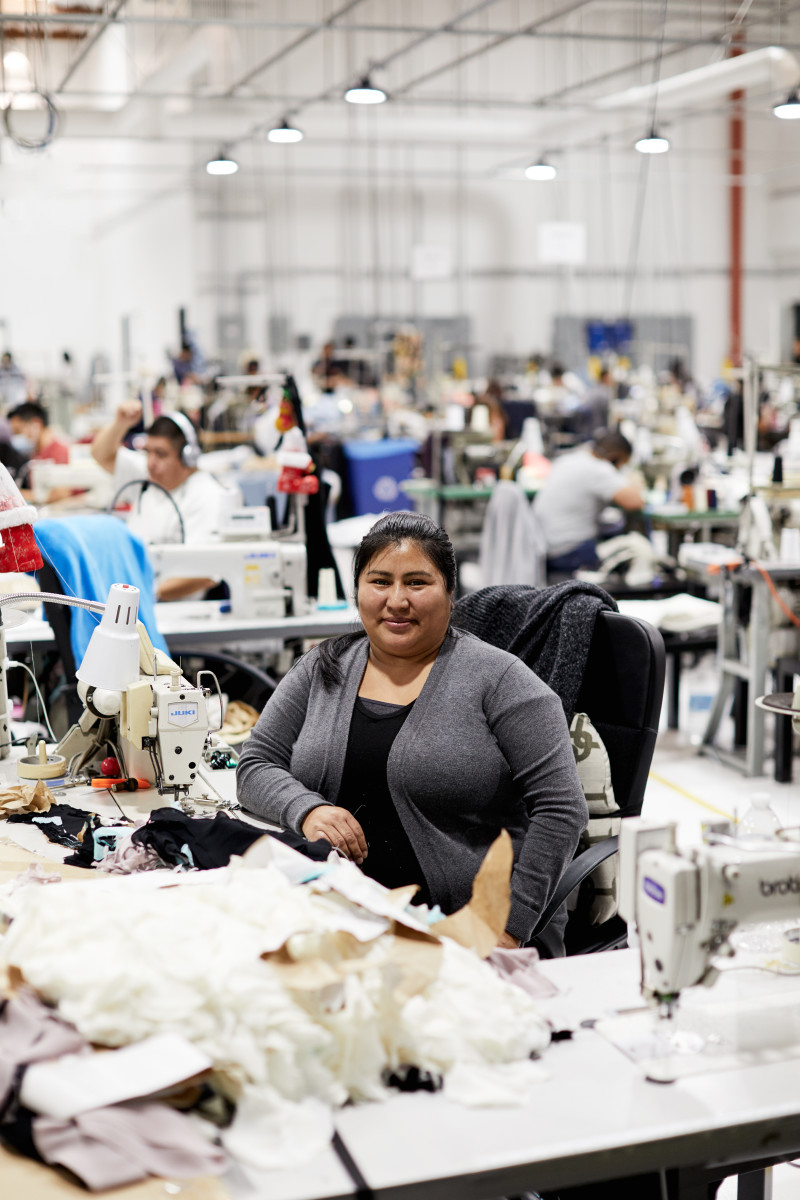 Elena inside Reformation's Los Angeles factory. Photo: courtesy of Reformation
