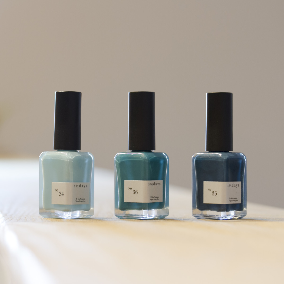 Three nail polishes from Sundays's product lineup. Photo: Sundays