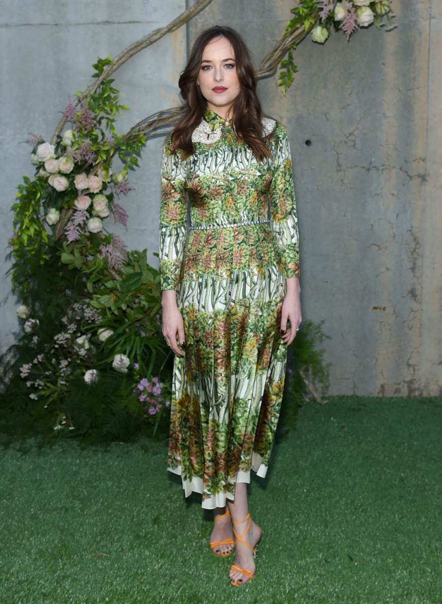 4e1a5250b83 Dakota Johnson in Gucci at the launch of Gucci Bloom. Photo  Jamie McCarthy