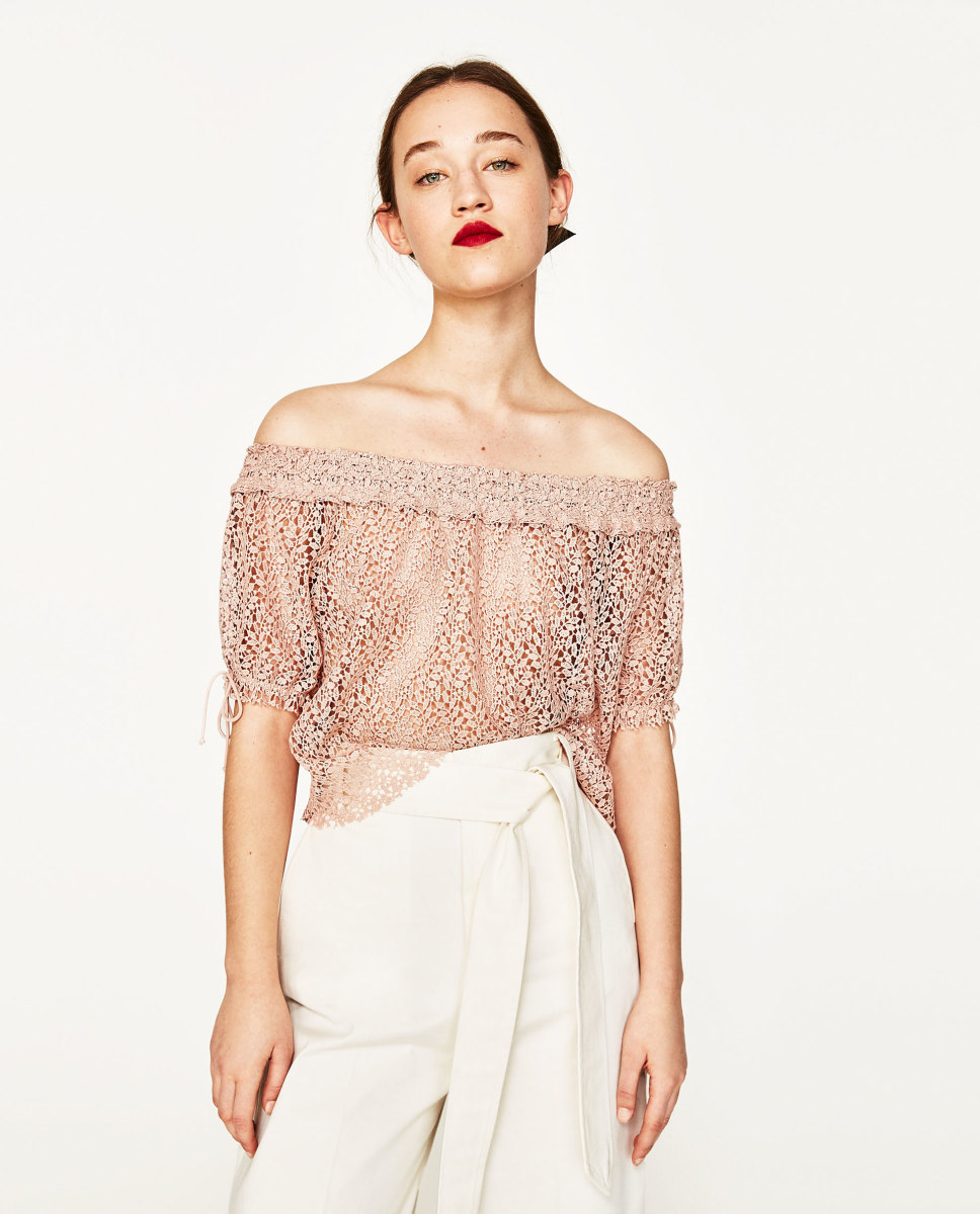 Off-the-Shoulder Guipere Lace Top, $39.90, available at Zara.