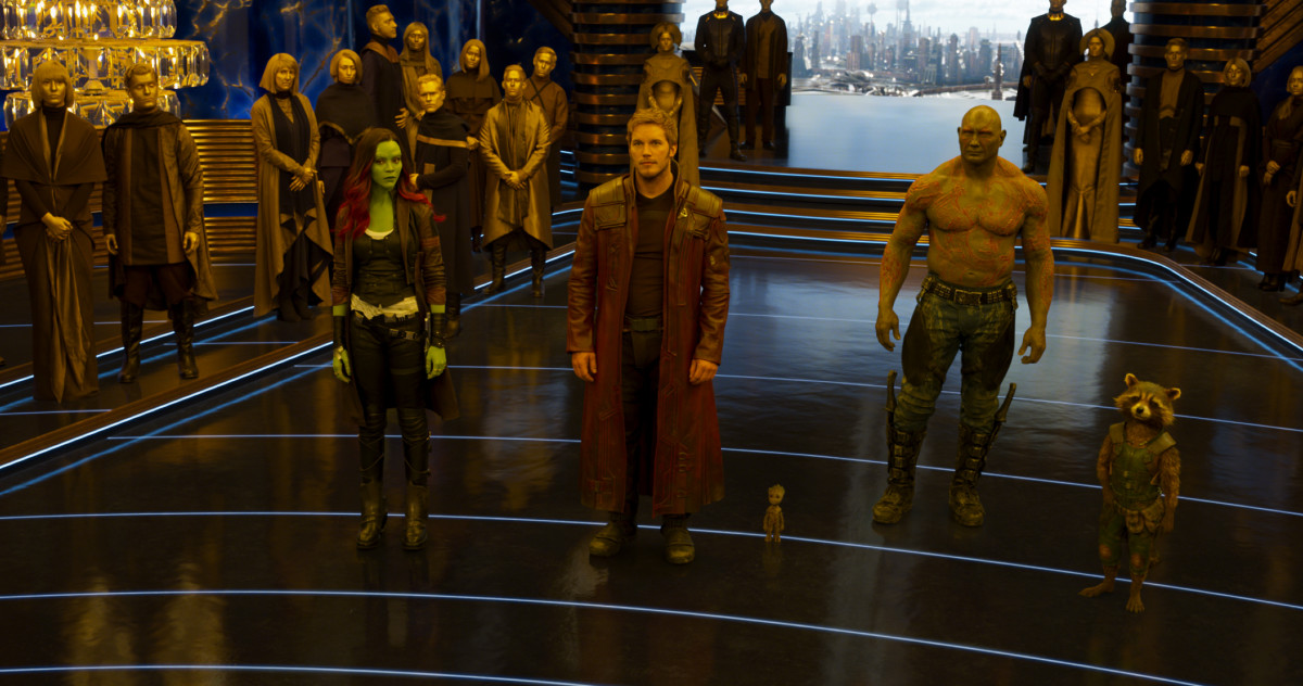 L to R: Gamora (Zoe Saldana), Star-Lord/Peter Quill (Chris Pratt), Drax (Dave Bautista) and Rocket (voiced by Bradley Cooper). Photo: Film Frame/Marvel Studios
