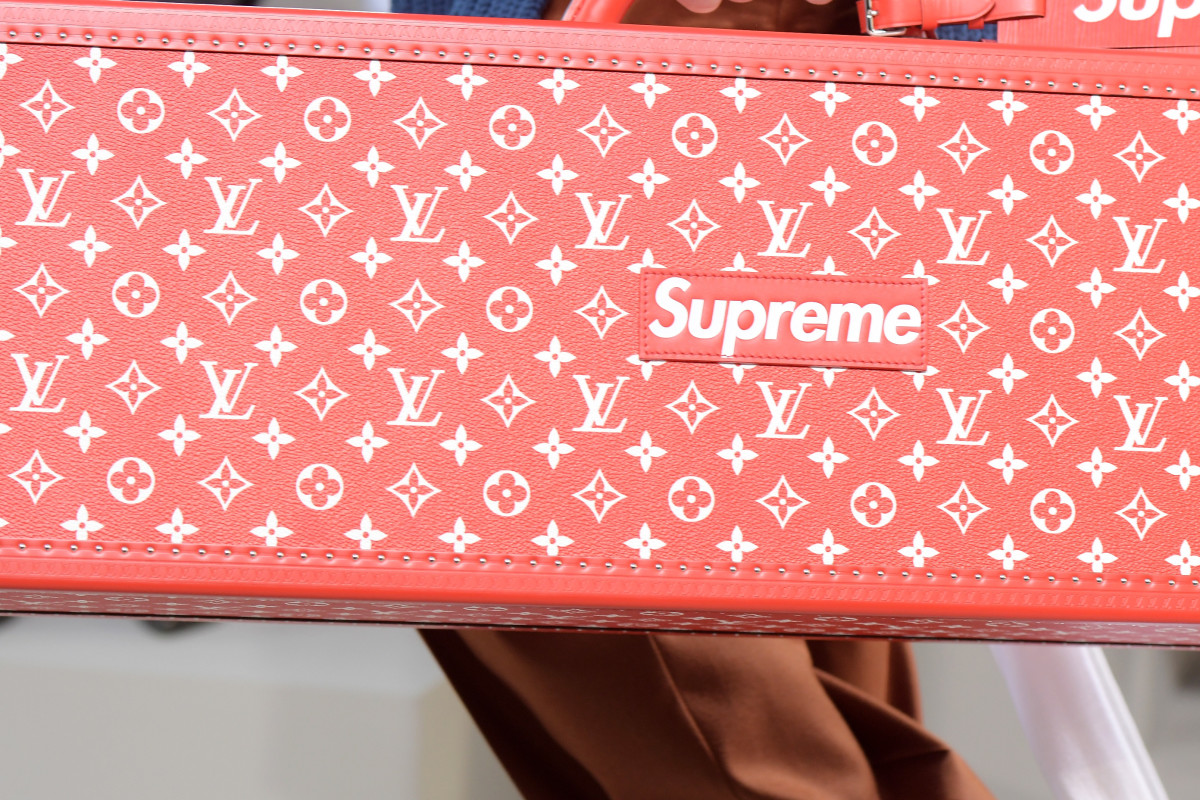 A look from the Supreme x Louis Vuitton collaboration. Photo: Dominique Charriau/Getty Images