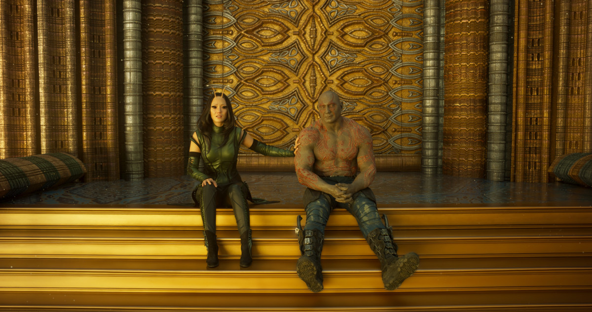Mantis (Pom Klementieff) and Drax (Dave Bautista). Photo: Film Frame/Marvel Studios