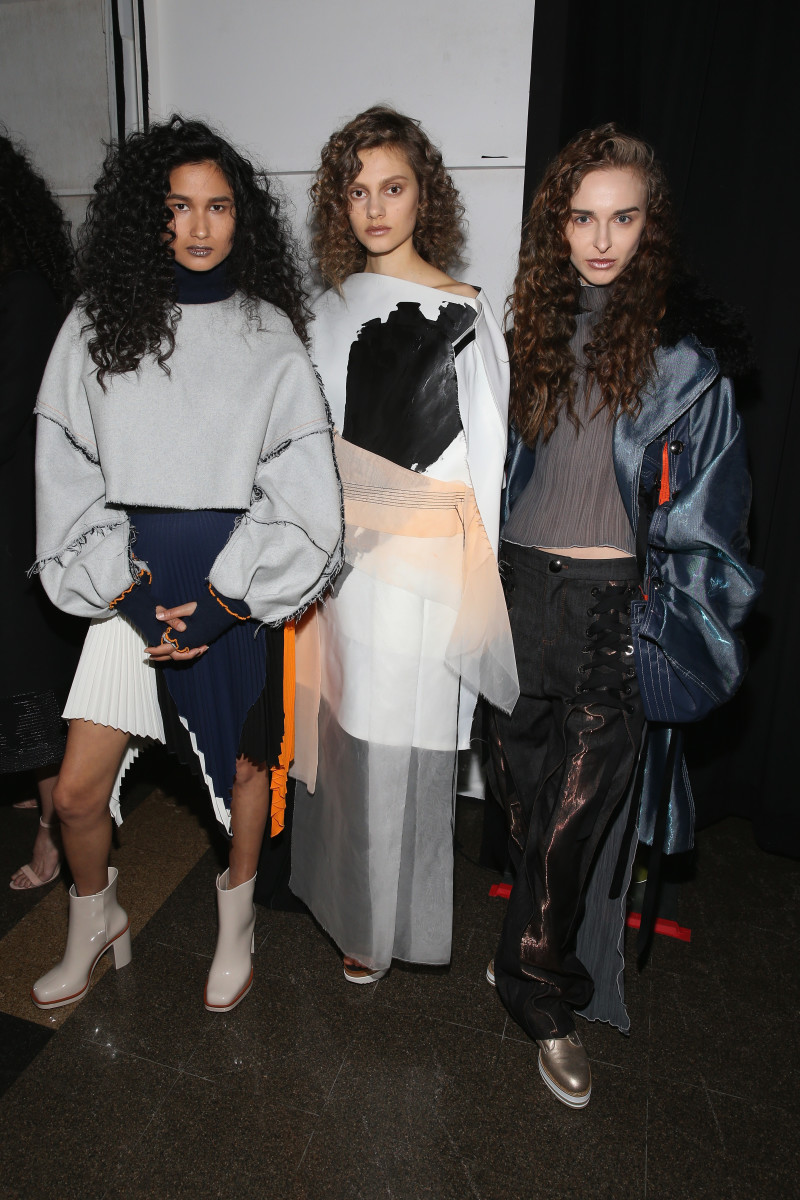 Models backstage at the 2017 FIT Future of Fashion show. Photo: Bennett Raglin/Getty Images