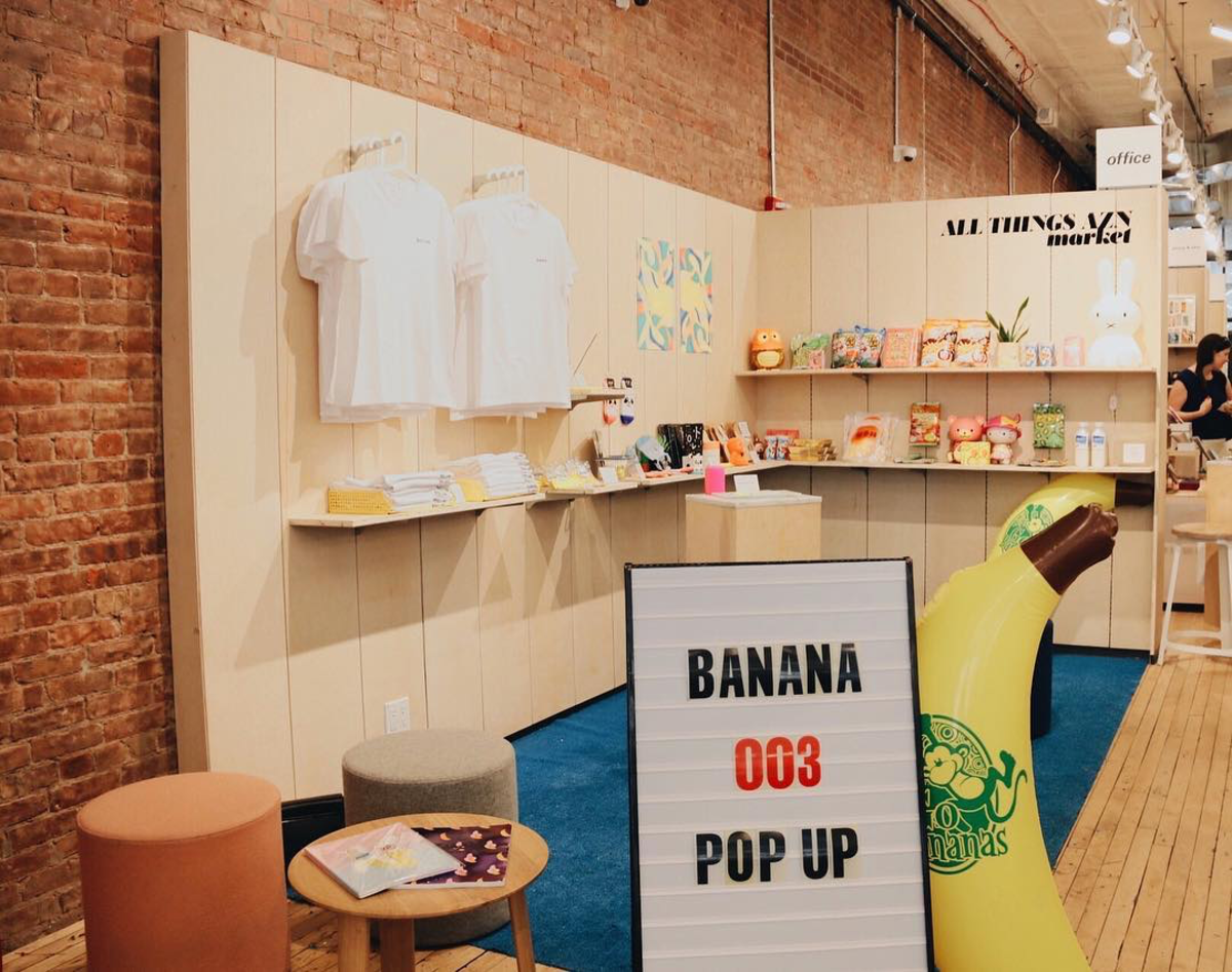 """Banana"" Magazine's pop-up at Canal Street Market in New York City. Photo: @bananamag/Instagram"