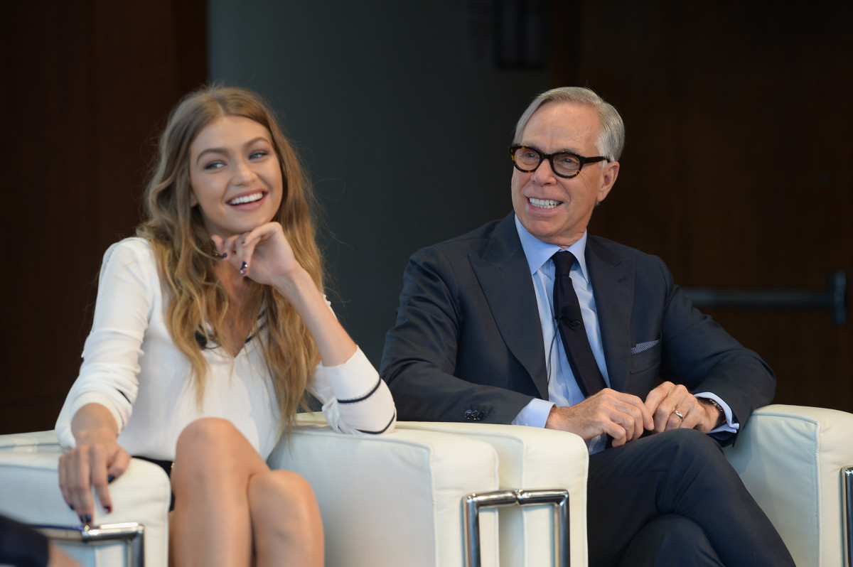 f356de690eaa Gigi Hadid and Tommy Hilfiger at the September 2016 press conference for  Tommy x Gigi.