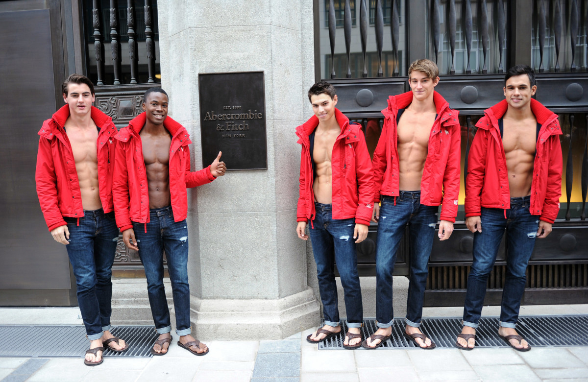 Male models at the Abercrombie & Fitch flagship in Munich. Photo: Hannes Magerstaedt/Getty Images