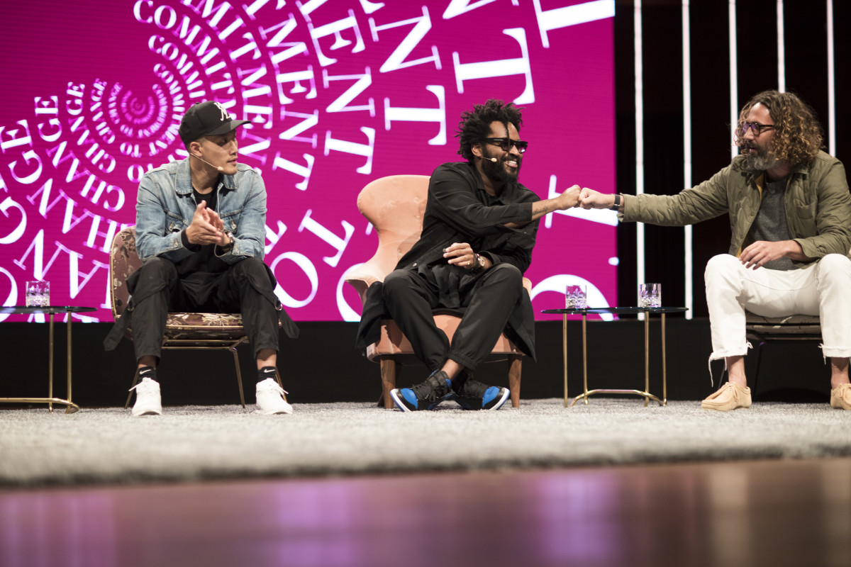 "Dao-Yi Chow, Maxwell Osborne and John Moore on the ""Fashion for a Cause"" panel at the 2017 Copenhagen Fashion Summit. Photo: Copenhagen Fashion Summit"