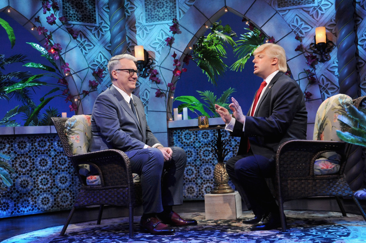 "Guest Keith Olberman tries to keep a straight face and Anthony Atamanuik as Donald Trump on ""The President Show."" Photo: Brad Barket/Comedy Central"