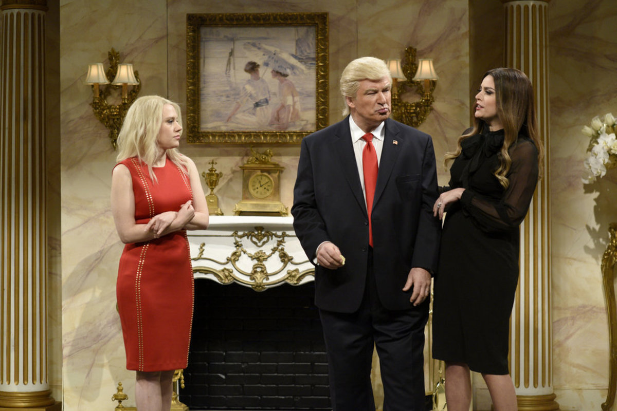 "Kate McKinnon as Kellyanne Conway, Baldwin as Trump and Cecily Strong as Melania Trump on the April 8, 2017 episode of ""Saturday Night Live."" Photo: Will Heath/NBC"