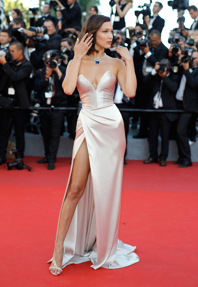 """Bella Hadid in Alexandre Vauthier at a screening of """"Ismael's Ghosts"""" during the 2017 Cannes Film Festival on Wednesday. Photo: Andreas Rentz/Getty Images"""