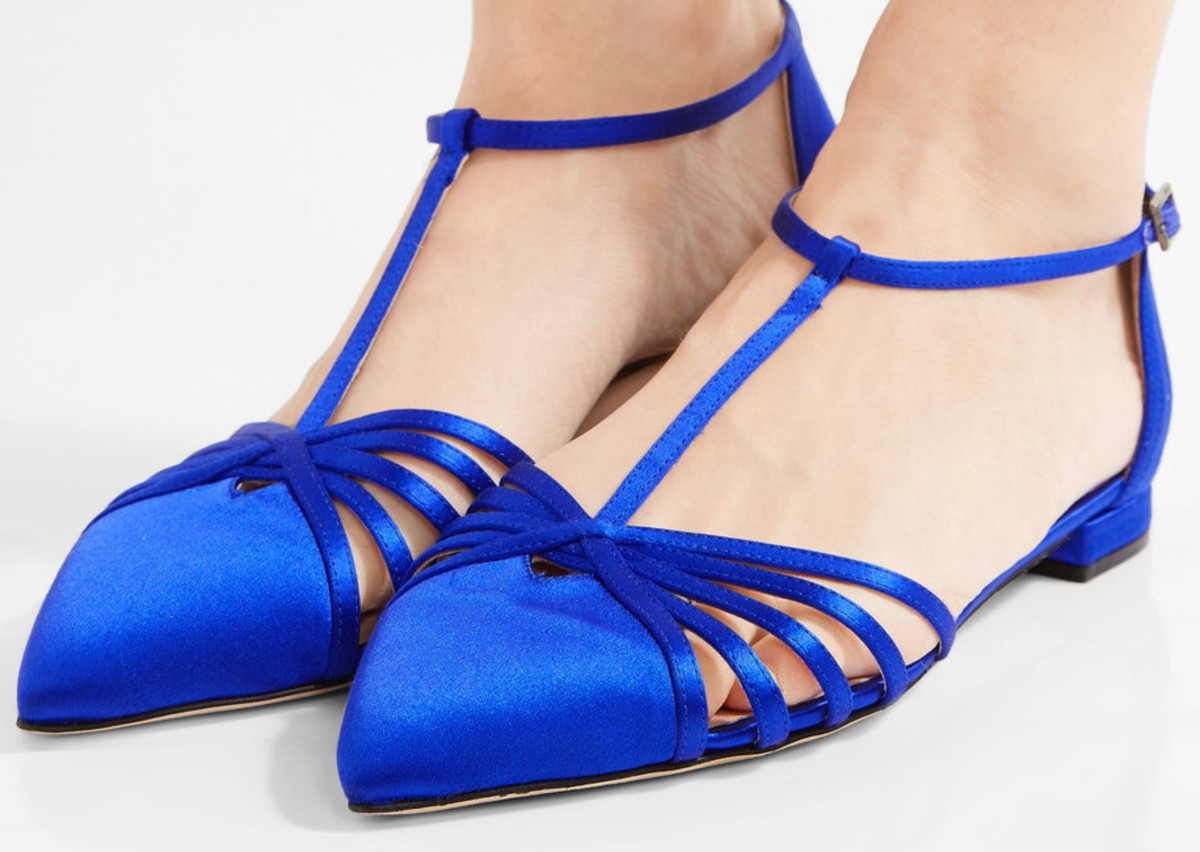 "SJP ""Carrie"" satin point-toe flats, $355, available at Net-a-Porter."