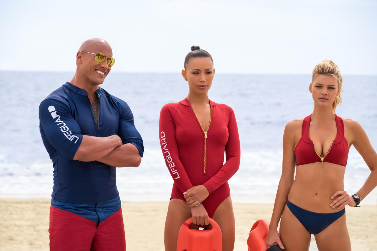 Mitch (Johnson), Stephanie (Ilfenesh Hadera) and CJ (Kelly Rohrbach). Photo: Paramount Pictures