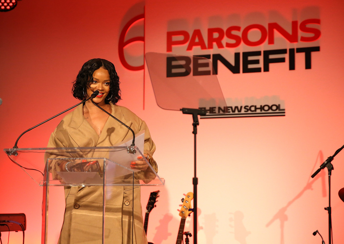 Celebrity Fashion: Rihanna at the 2017 Parsons Relieve indicate.