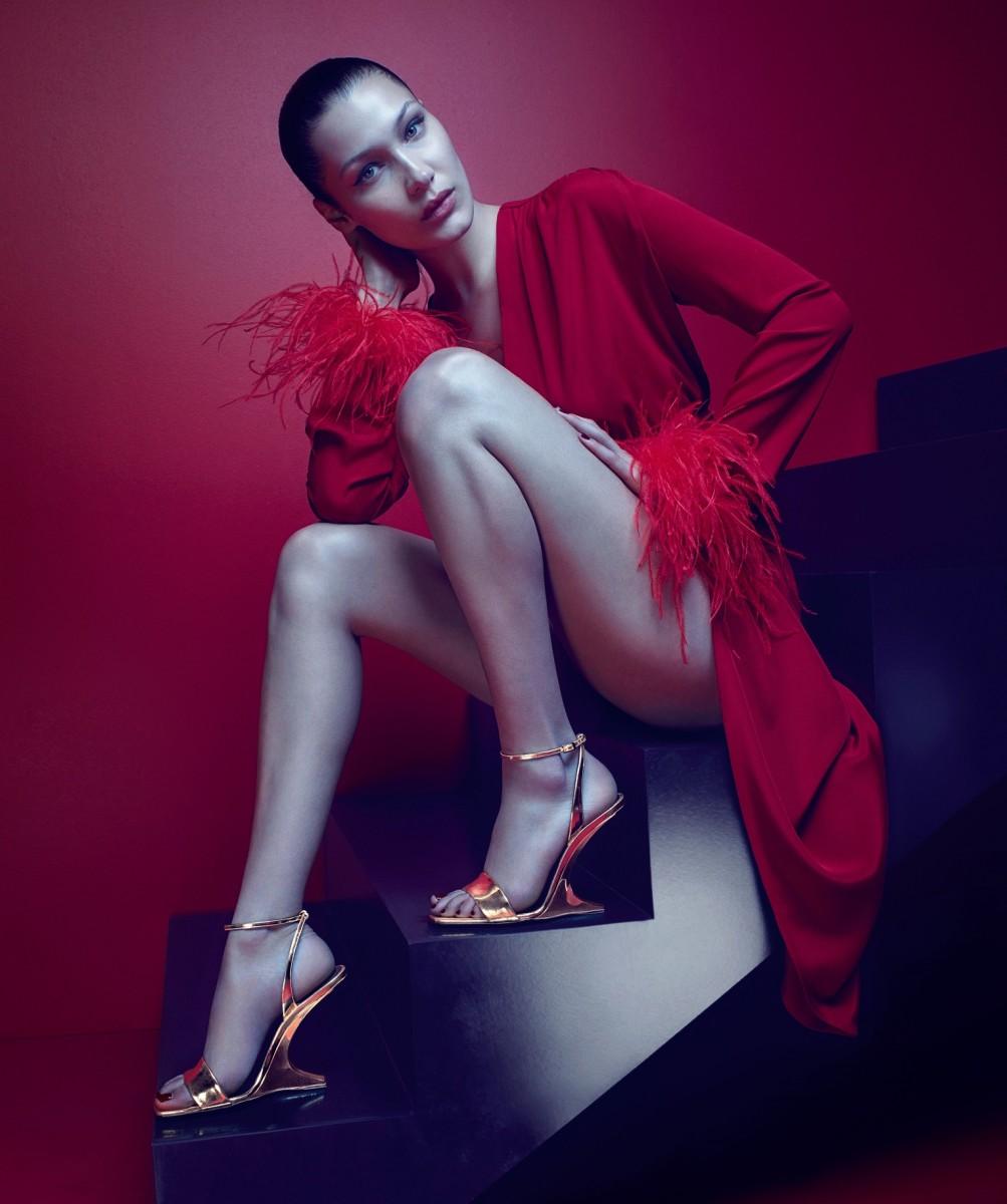 Bella Hadid for Giuseppe Zanotti's Fall 2017 campaign. Photo: Mario Sorrenti