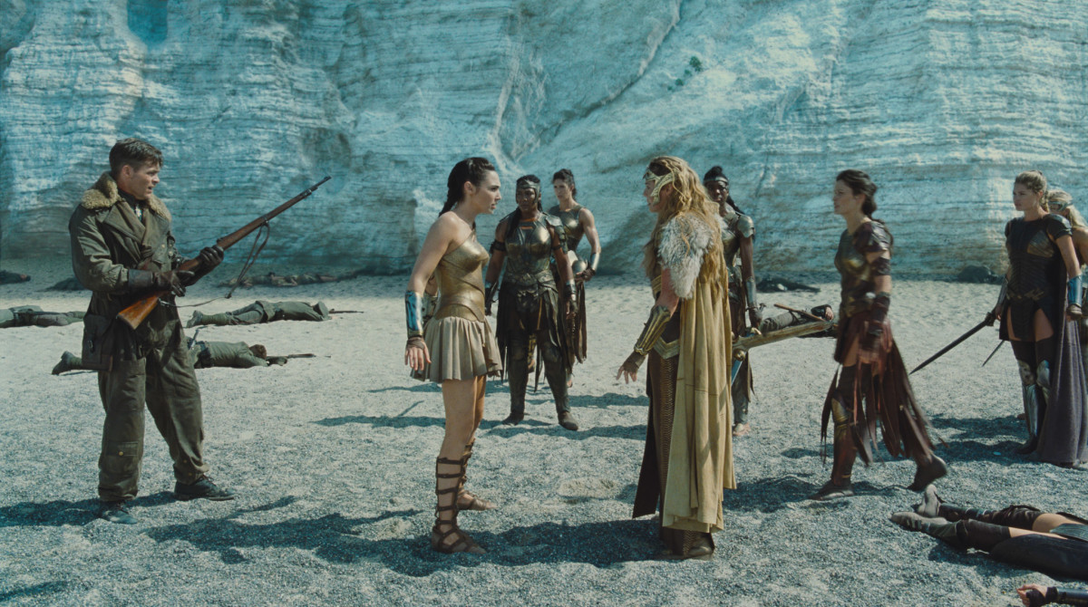 Steve, Diana and Queen Hippolyta (Connie Nielsen) on the Themiscyra beach. Photo: Warner Bros.